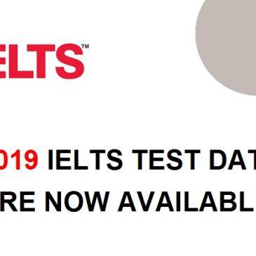 2019 IELTS test dates