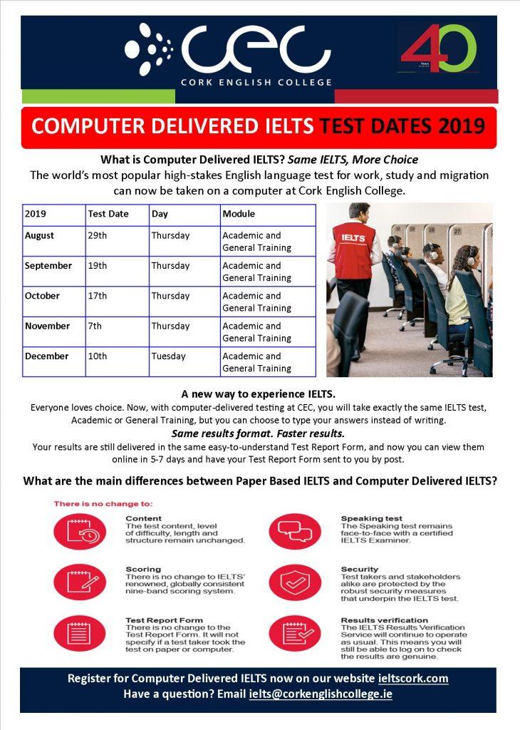 Test Dates – CEC – Your IELTS Test Centre in Cork, Ireland
